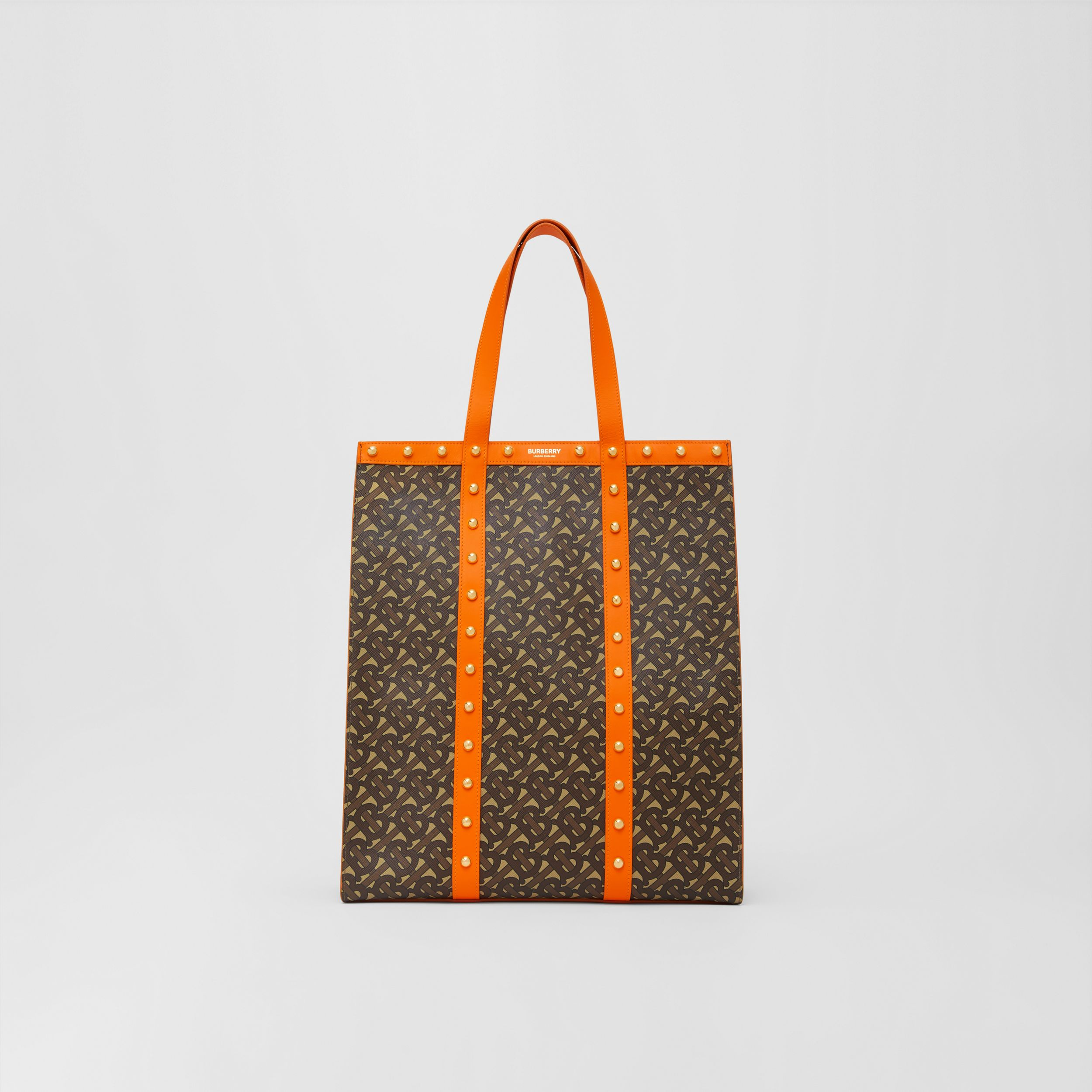 Monogram Print E-canvas Portrait Tote Bag in Bright Orange | Burberry - 1