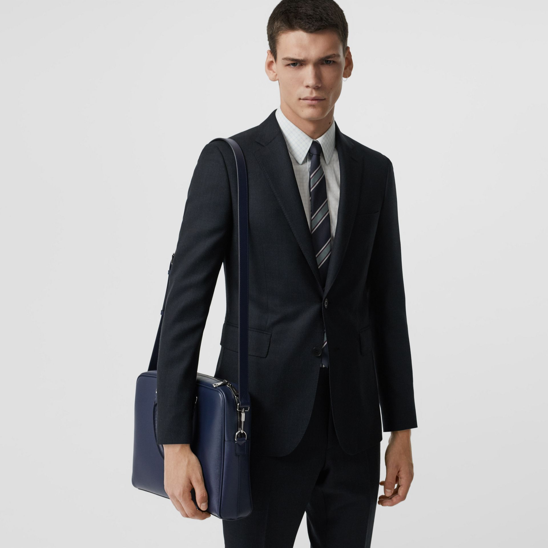 London Leather Briefcase in Navy - Men | Burberry - gallery image 3