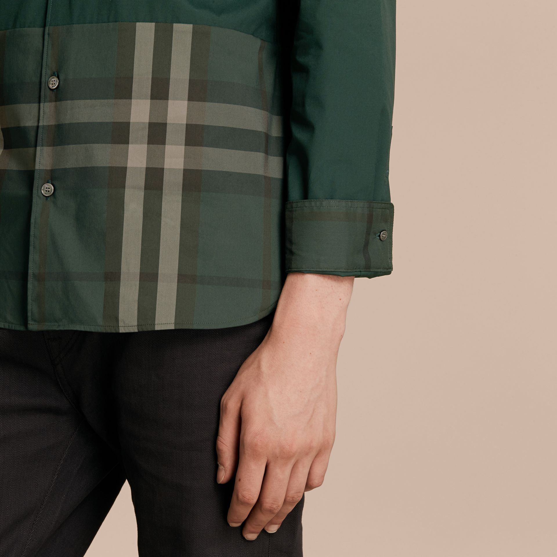Racing green Check Panel Stretch-Cotton Poplin Shirt Racing Green - gallery image 5