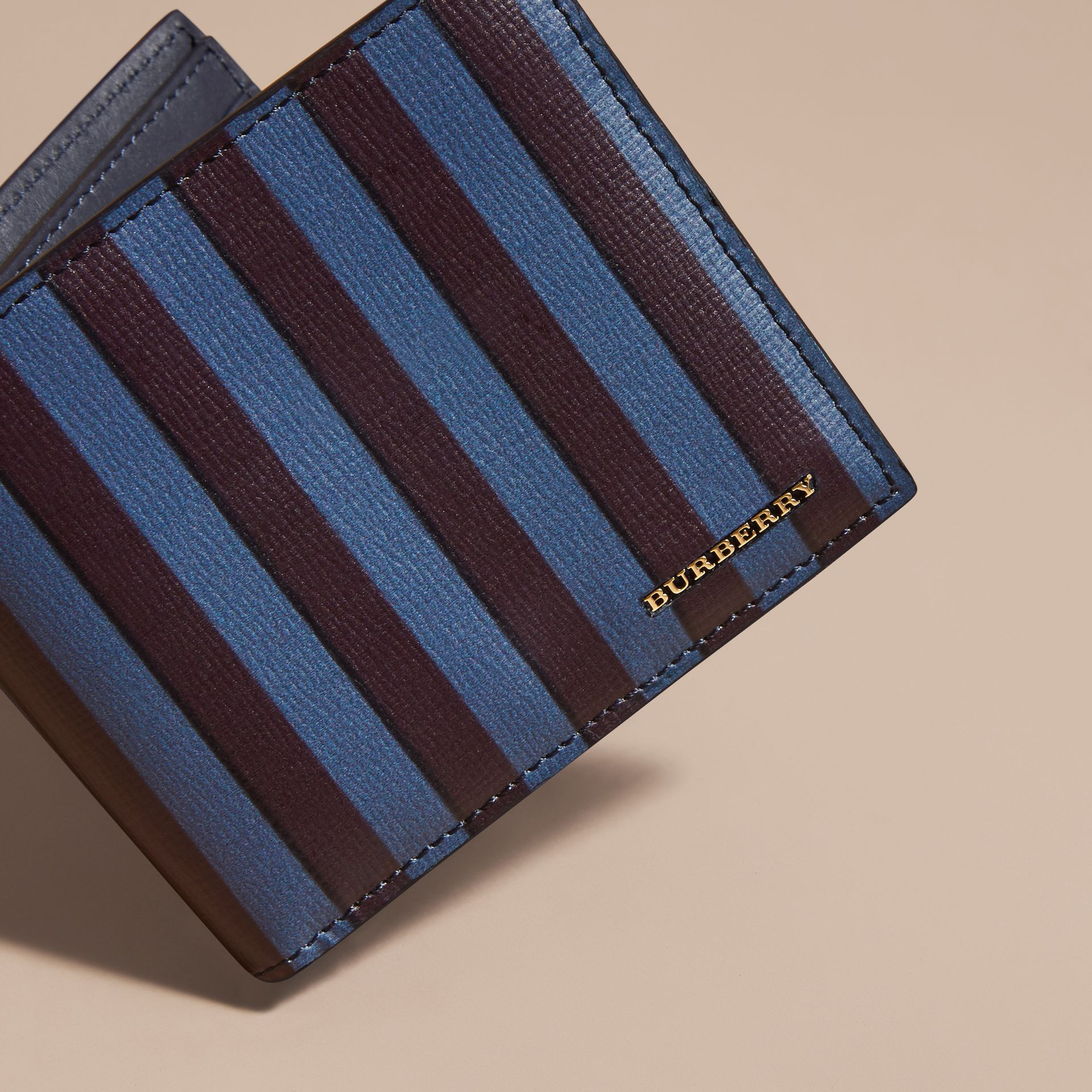 Navy Pyjama Stripe London Leather Folding Wallet - gallery image 3