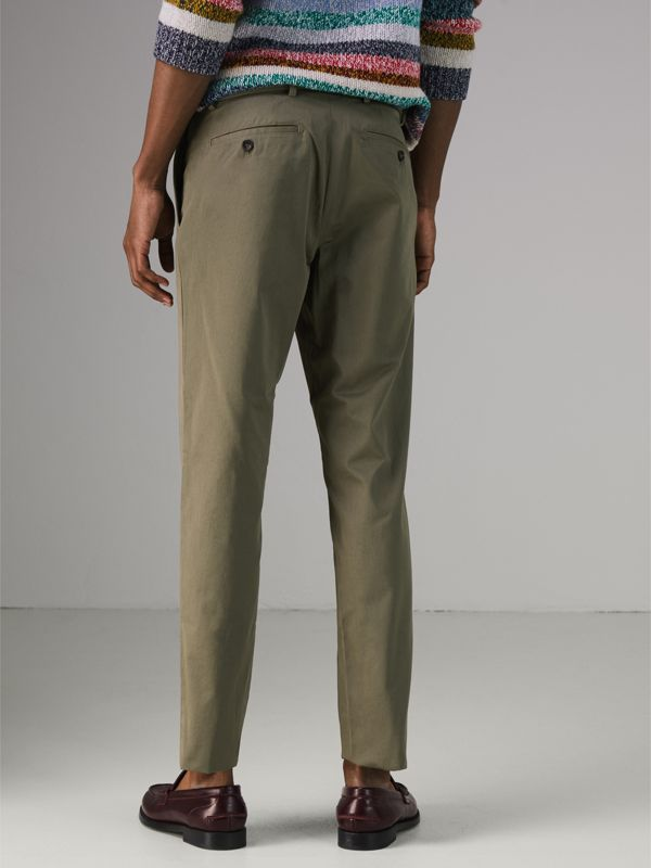 Slim Fit Cotton Chinos in Military Green - Men | Burberry Canada - cell image 2