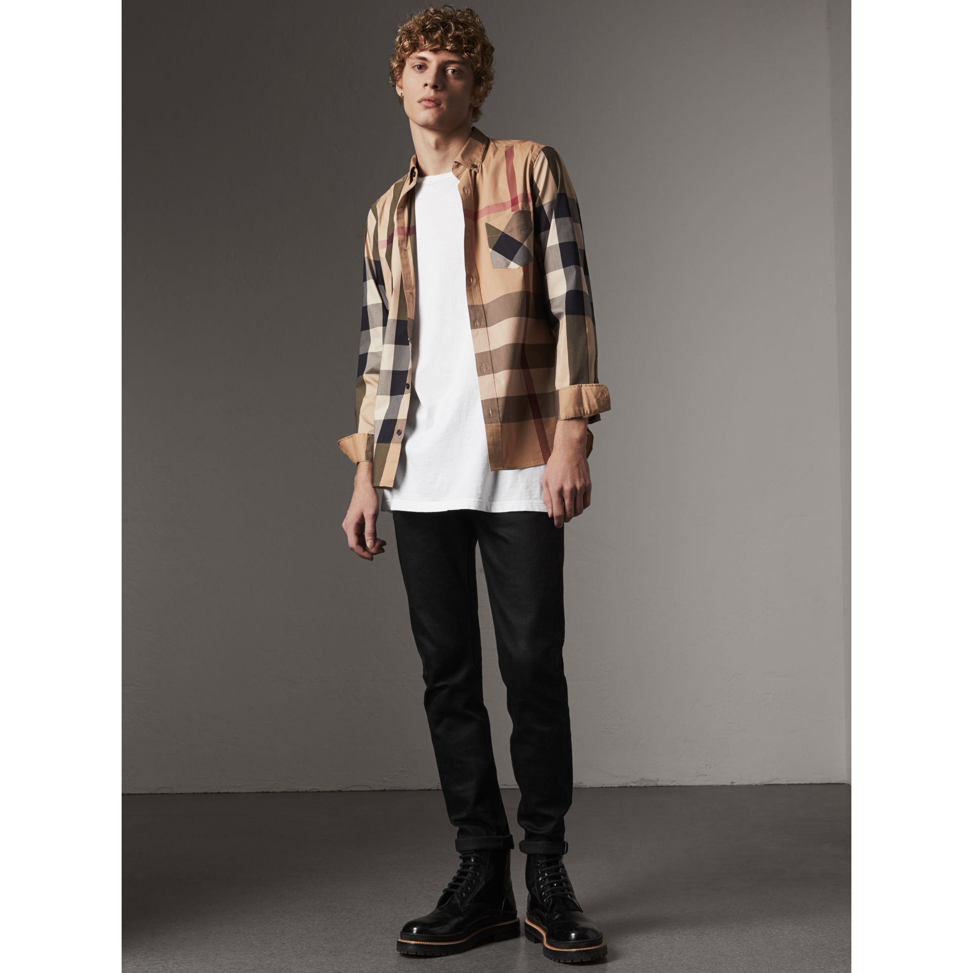 Button-down Collar Check Stretch Cotton Blend Shirt in Camel - Men | Burberry Canada - gallery image 4