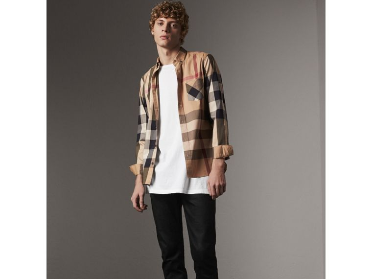 Button-down Collar Check Stretch Cotton Blend Shirt in Camel - Men | Burberry - cell image 4