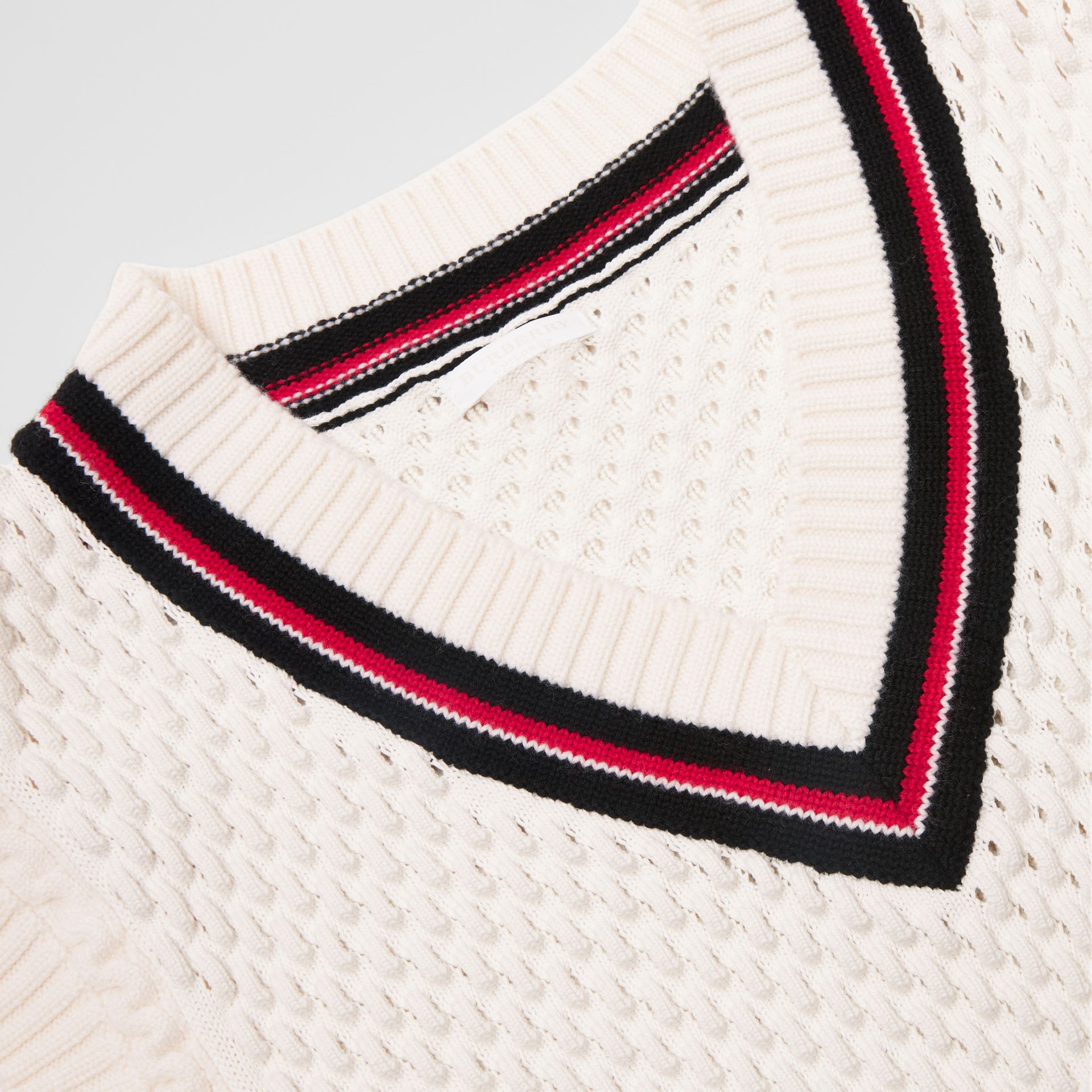 Stripe Detail Cotton and Merino Wool Vest in White | Burberry - gallery image 1