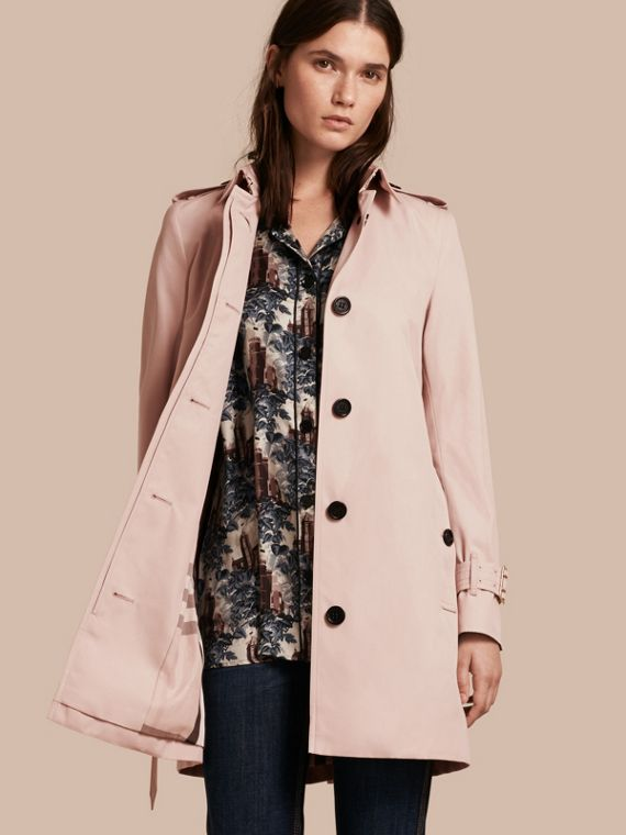 Single-breasted Trench Coat with Metal Buckle Detail Ice Pink