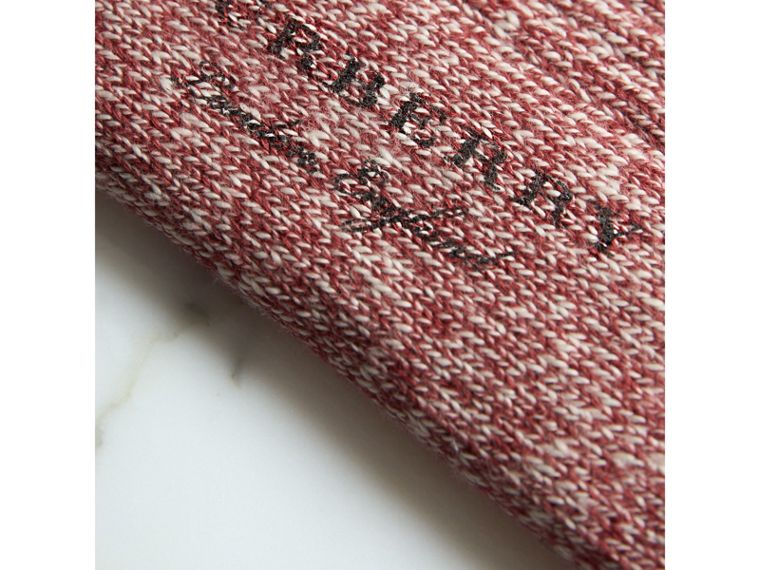 Striped Detail Chunky-knit  Cotton Mouliné Socks in Burgundy | Burberry - cell image 1