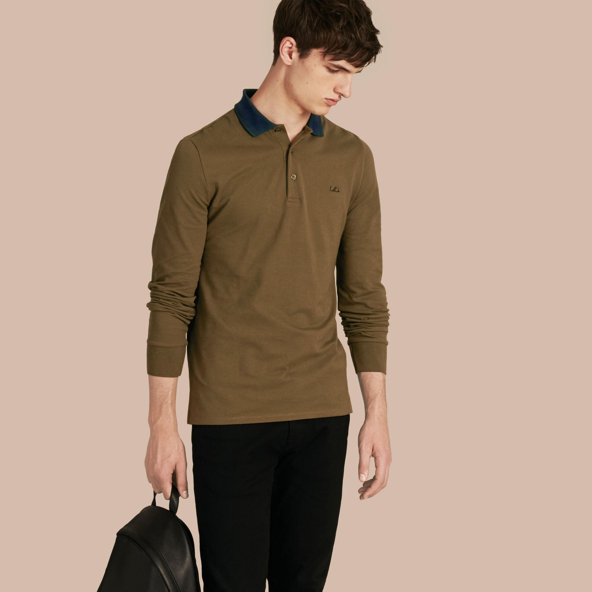 Military green/black Contrast Tipping Cotton Piqué Polo Shirt Military Green/black - gallery image 1