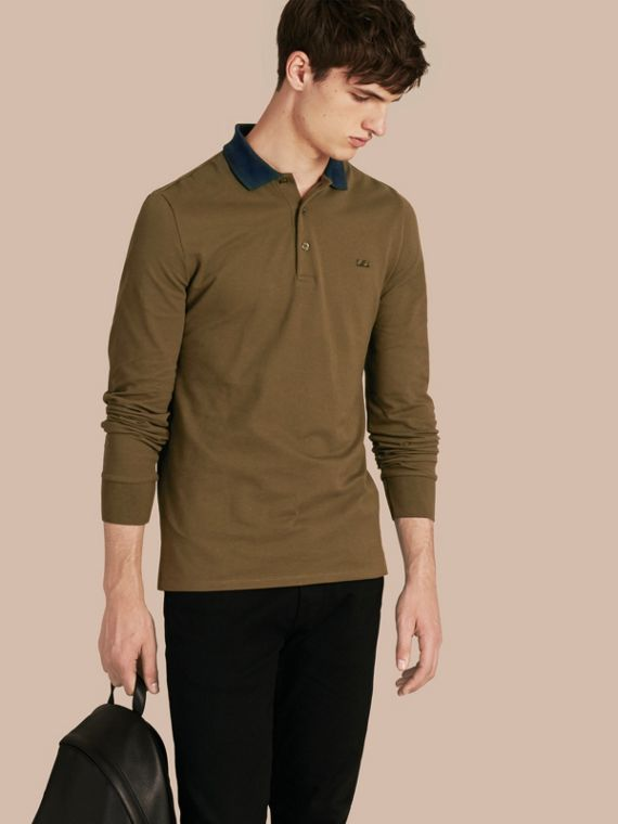 Contrast Tipping Cotton Piqué Polo Shirt Military Green/black