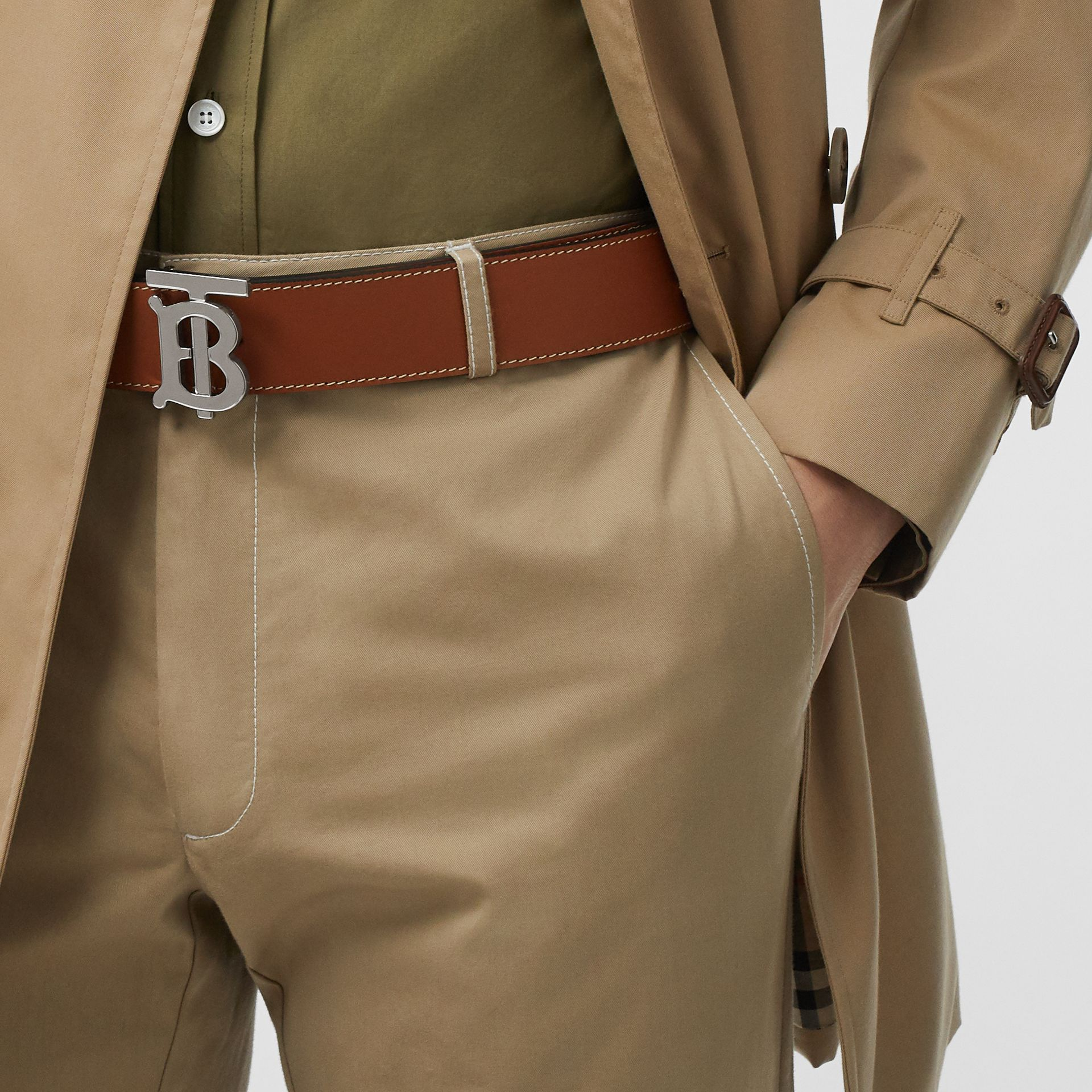 Reversible Monogram Motif Leather Belt in Tan/black - Men | Burberry - gallery image 2