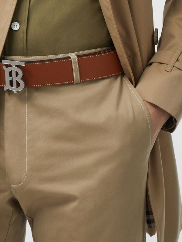 Reversible Monogram Motif Leather Belt in Tan/black - Men | Burberry Australia - cell image 2