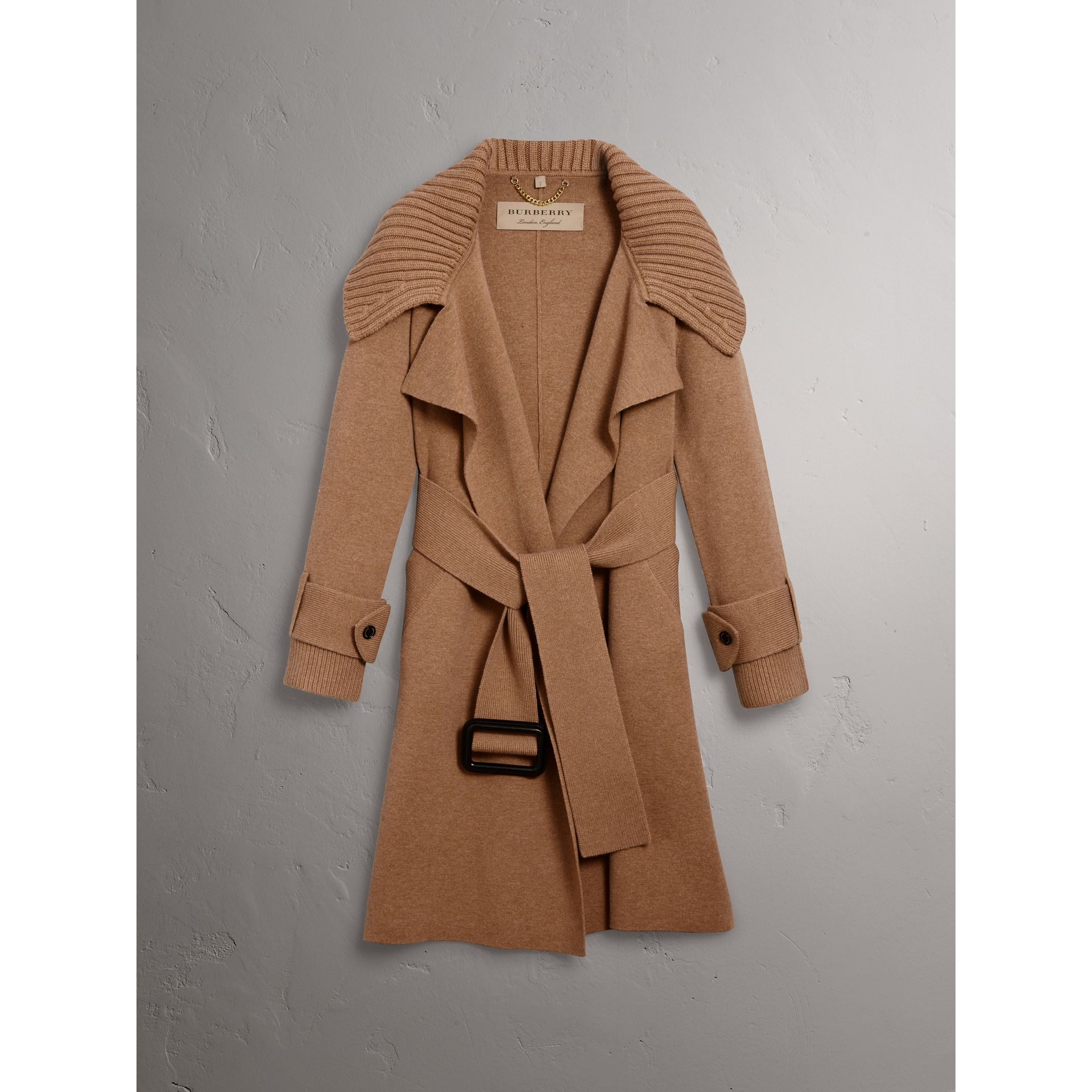 Knitted Wool Cashmere Wrap Coat in Camel - Women | Burberry Australia - gallery image 3