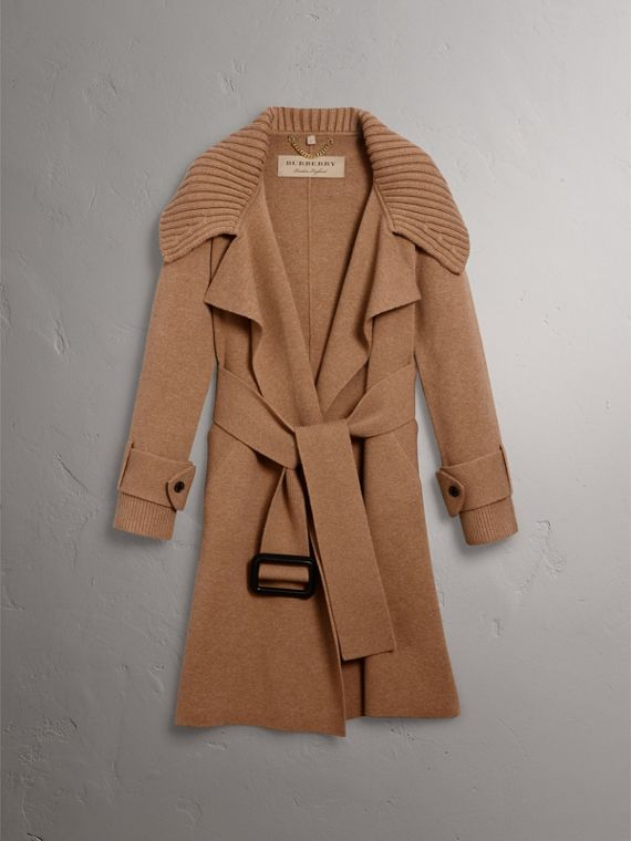 Knitted Wool Cashmere Wrap Coat in Camel - Women | Burberry Australia - cell image 3