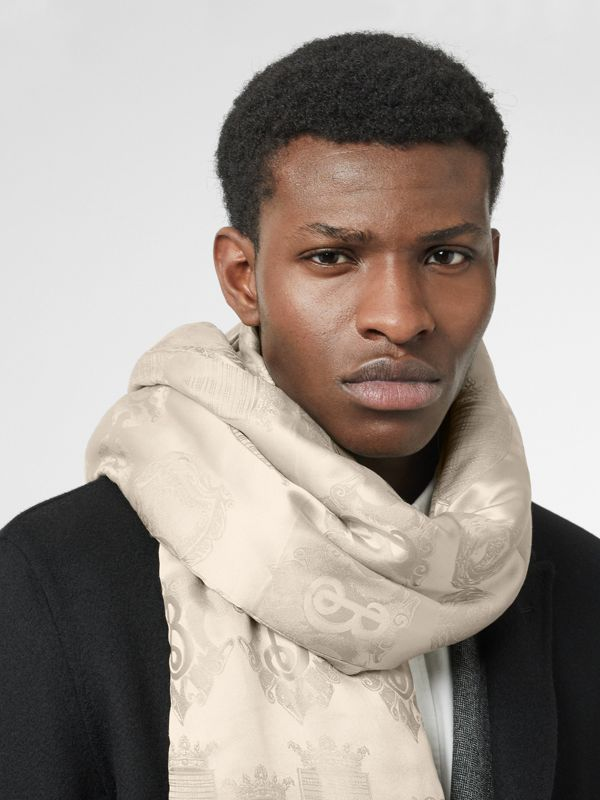 Archive Shield Silk Jacquard Puffer Scarf in Stone | Burberry United Kingdom - cell image 3