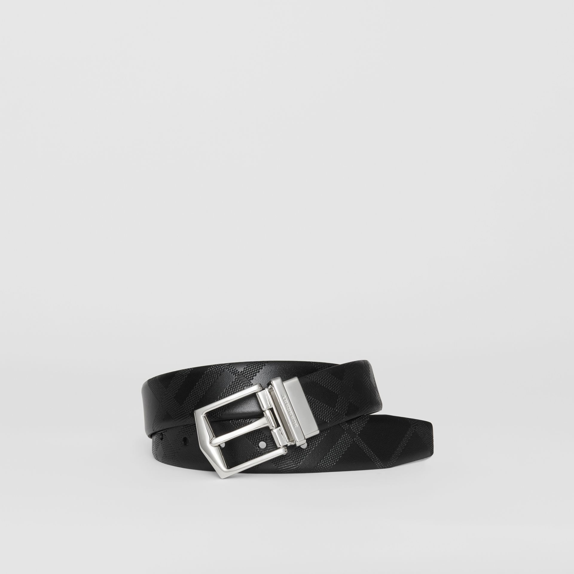 Reversible London Leather Belt in Black - Men | Burberry - gallery image 0