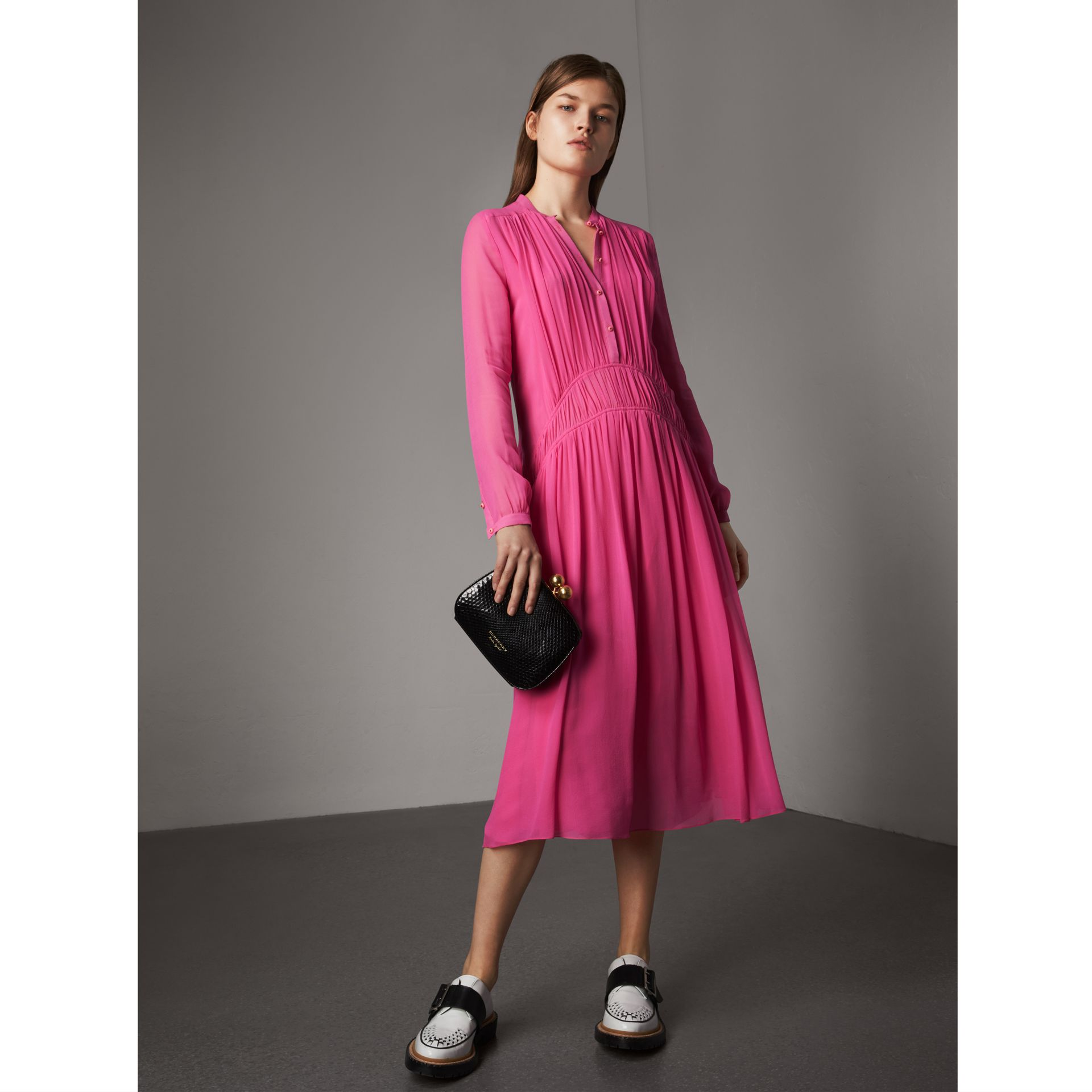 Gathered Silk Georgette Dress in Neon Pink - Women | Burberry - gallery image 0
