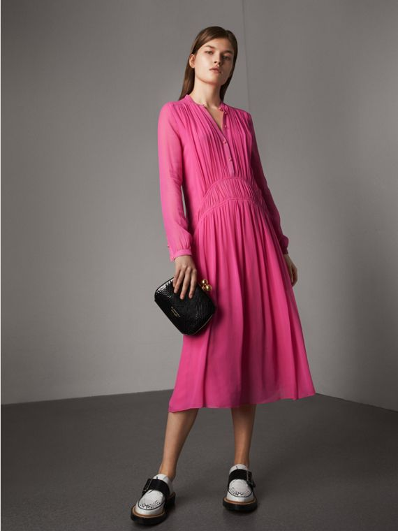 Gathered Silk Georgette Dress in Neon Pink
