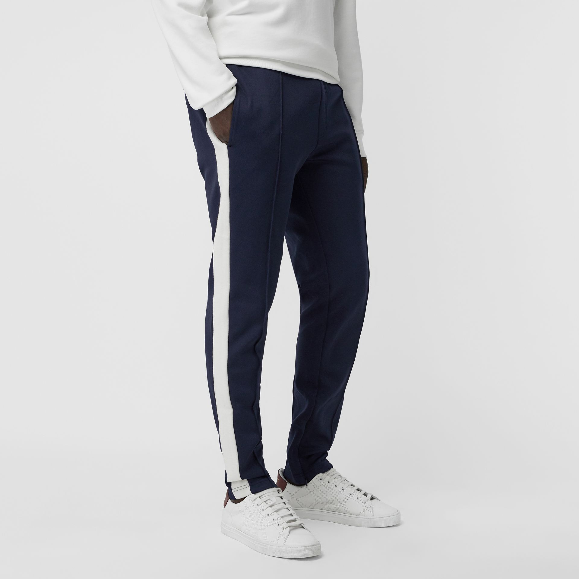 Sport Stripe Cotton Blend Drawcord Trousers in Navy - Men | Burberry - gallery image 4