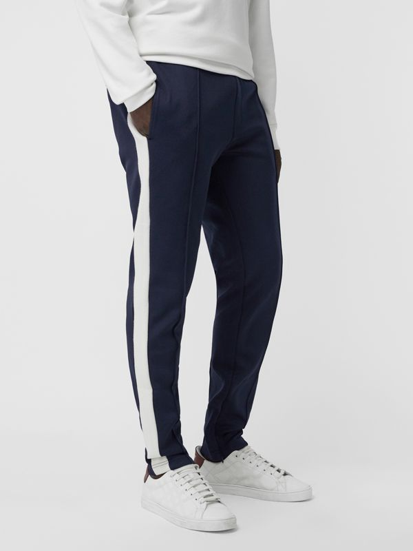 Sport Stripe Cotton Blend Drawcord Trousers in Navy - Men | Burberry United Kingdom - cell image 3