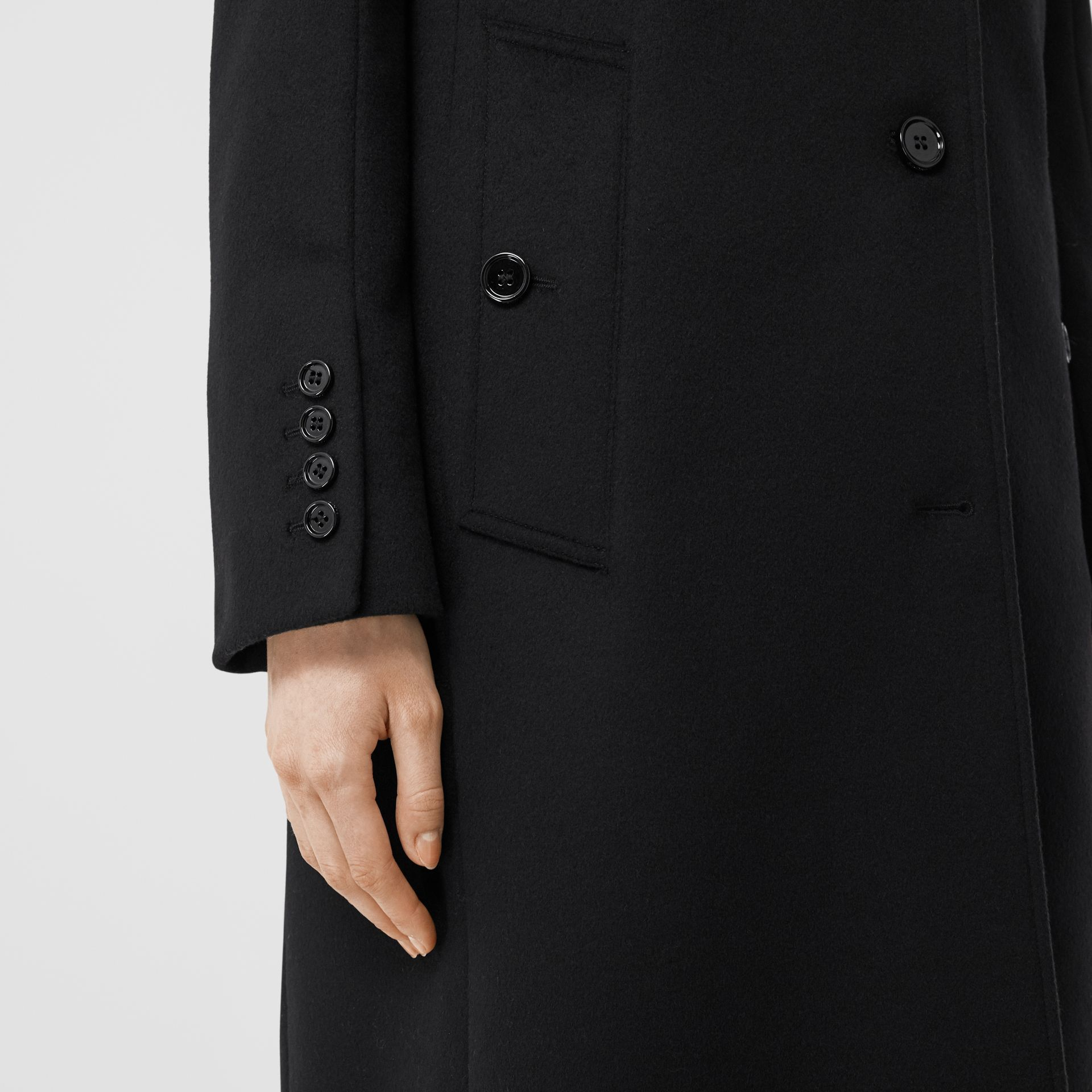 Wool Cashmere Tailored Coat in Black - Women | Burberry - gallery image 4