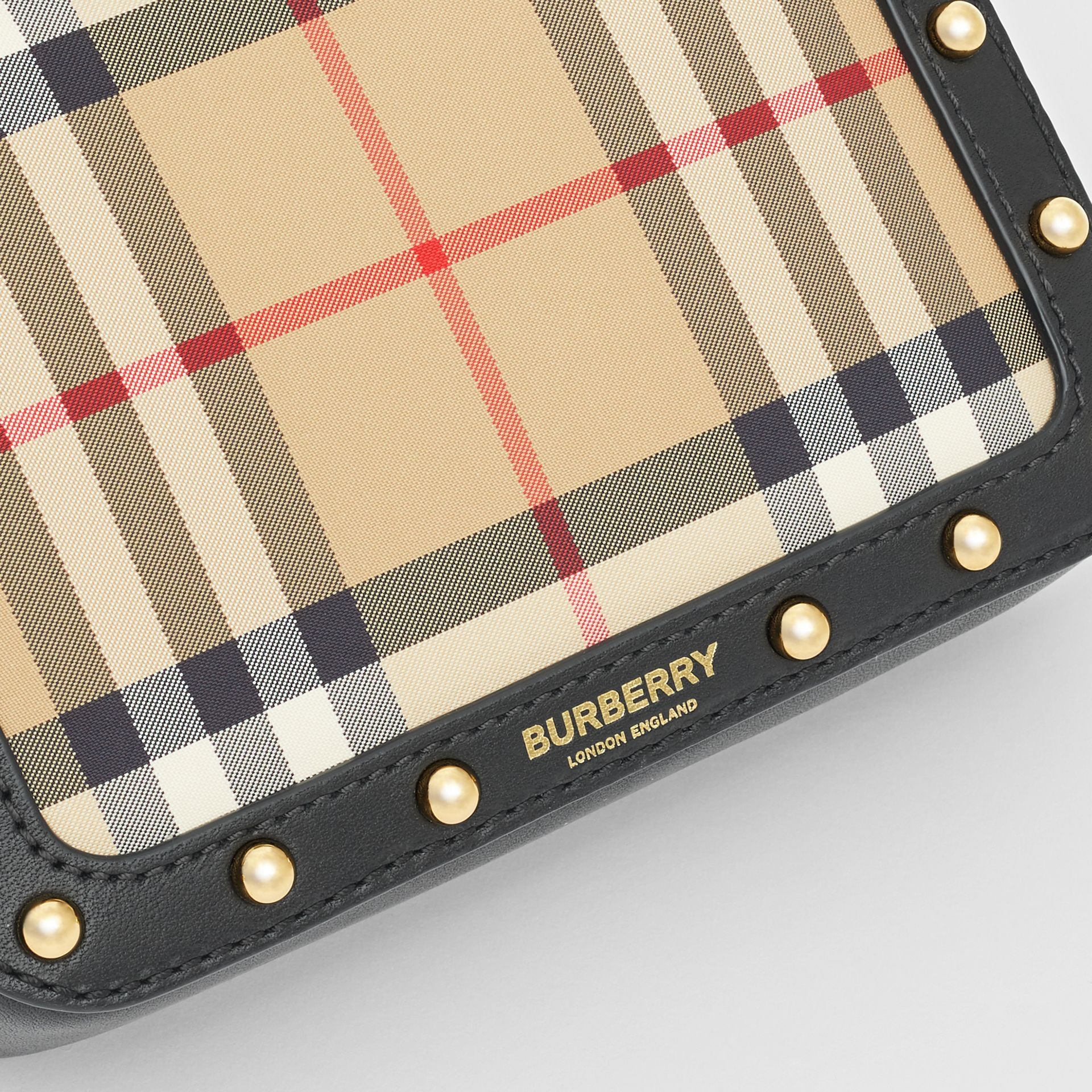 Vintage Check and Studded Leather Bum Bag in Black - Children | Burberry Hong Kong S.A.R - gallery image 1