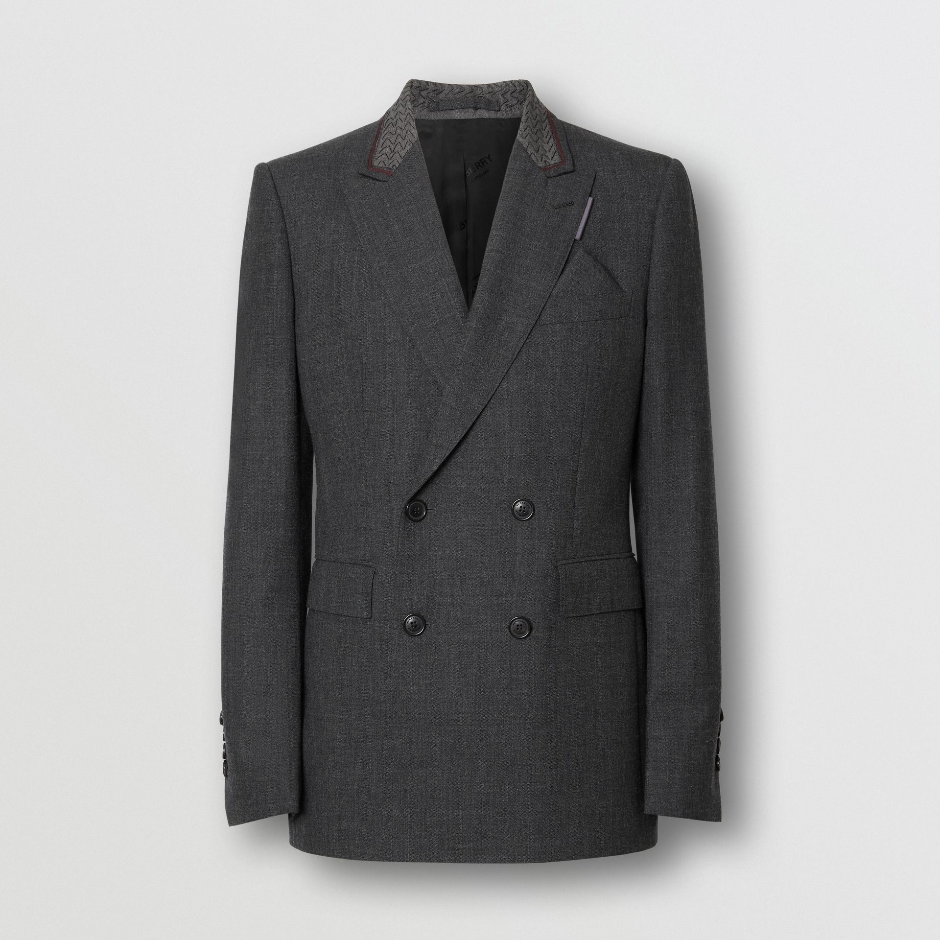 English Fit Wool Double-breasted Jacket in Dark Grey | Burberry - gallery image 1