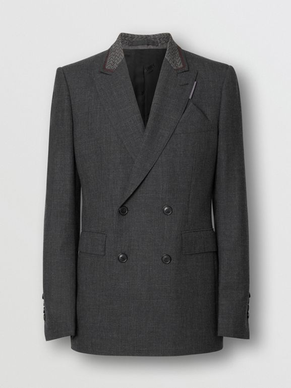 English Fit Wool Double-breasted Jacket in Dark Grey | Burberry - cell image 1