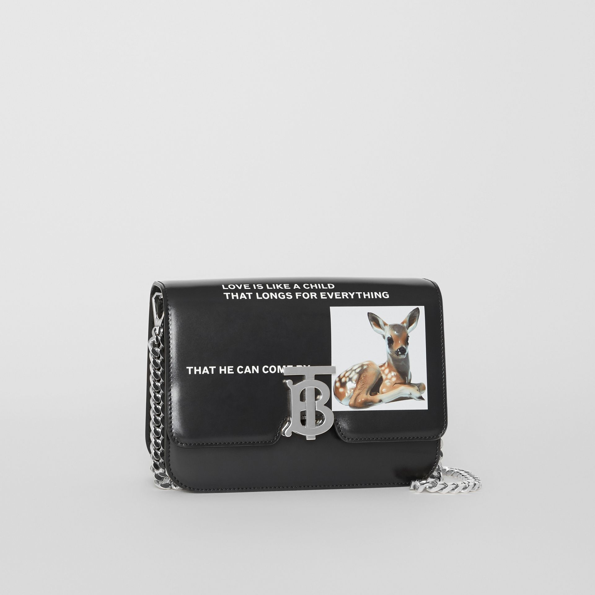 Small Montage Print Leather TB Bag in Black - Women | Burberry - gallery image 6