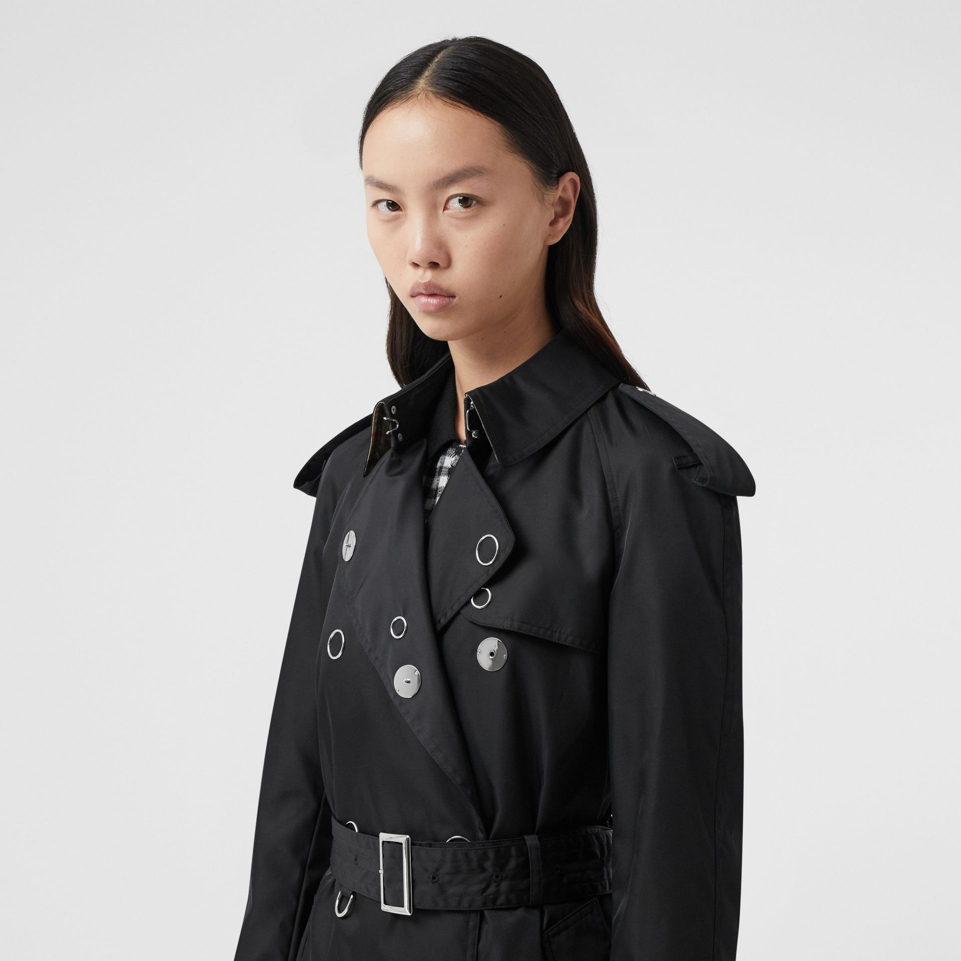Press-stud Detail ECONYL® Trench Coat in Black - Women | Burberry Canada - gallery image 1