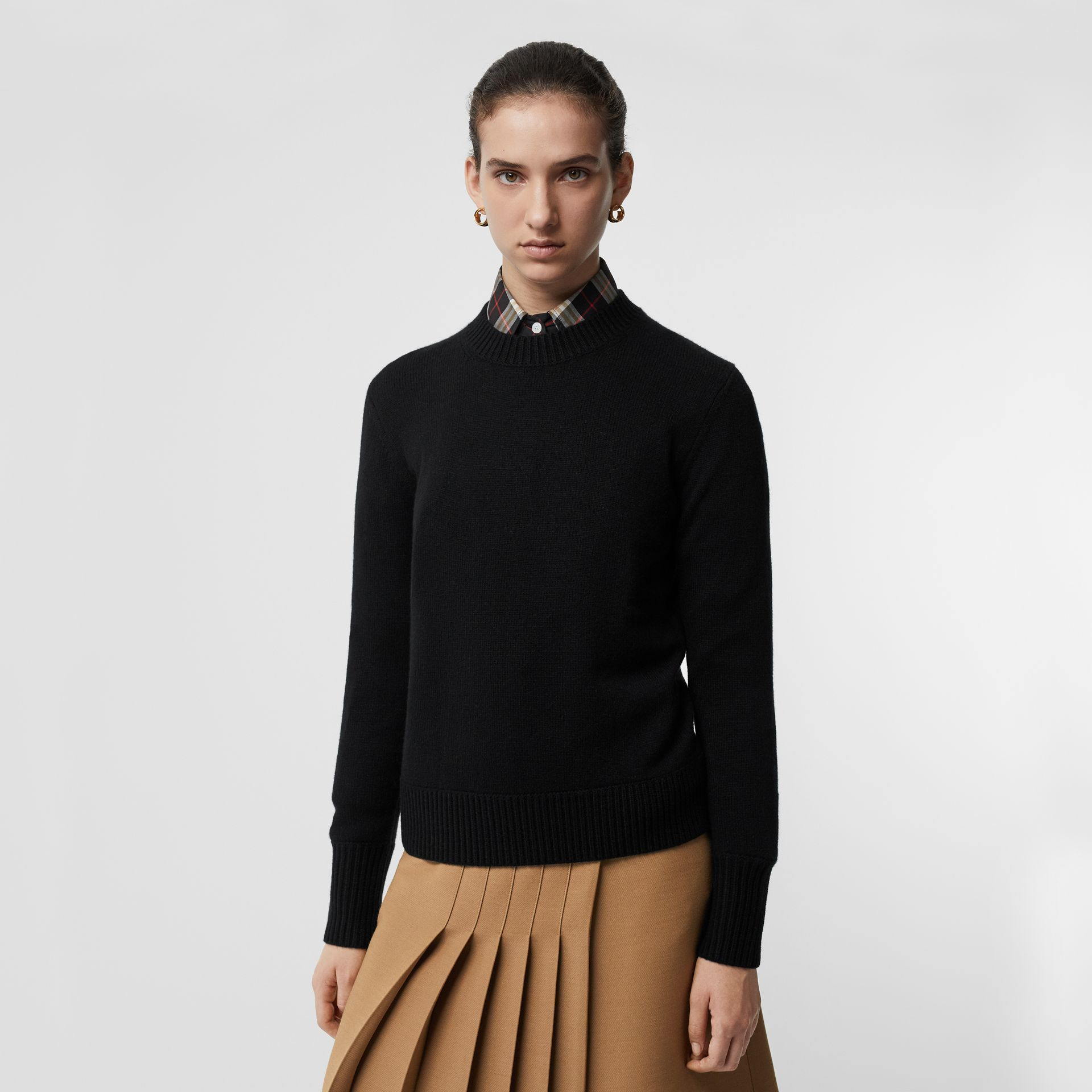 Embroidered Crest Cashmere Sweater in Black - Women | Burberry Singapore - gallery image 2