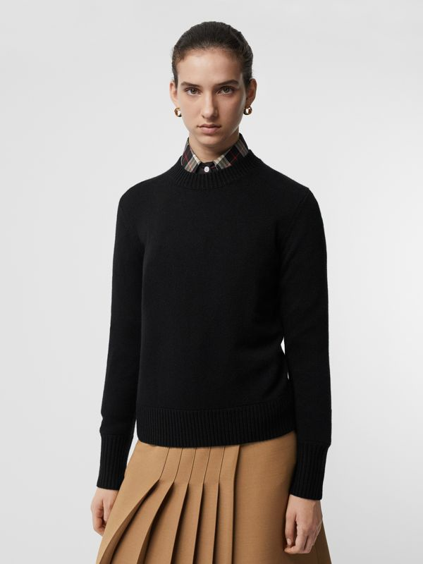 Embroidered Crest Cashmere Sweater in Black - Women | Burberry Singapore - cell image 2