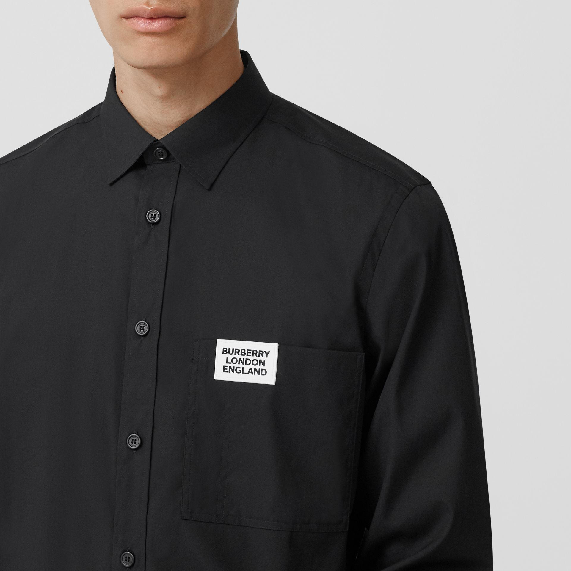 Logo Detail Stretch Cotton Poplin Shirt in Black - Men | Burberry Canada - gallery image 1