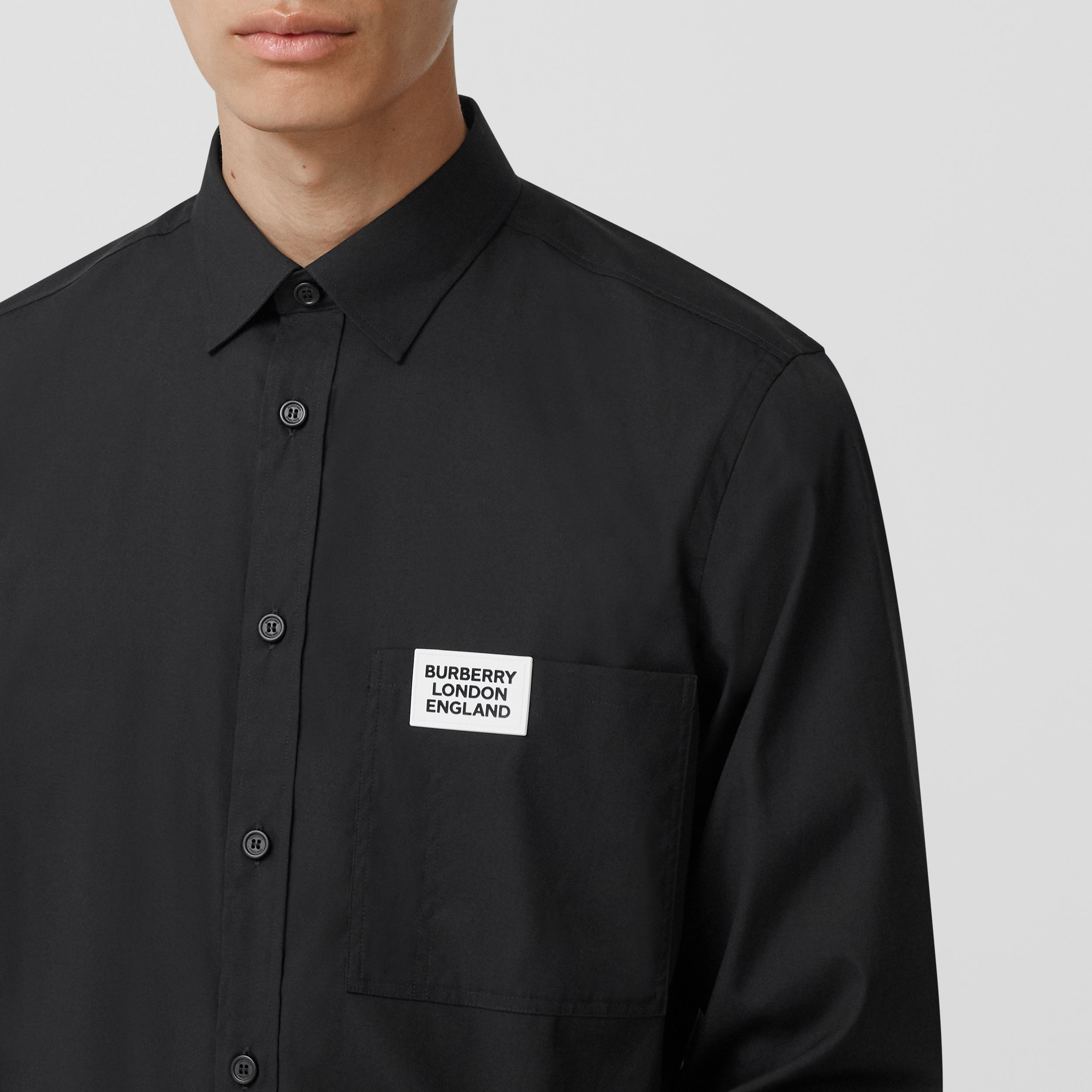 Logo Detail Stretch Cotton Poplin Shirt in Black - Men | Burberry - 2