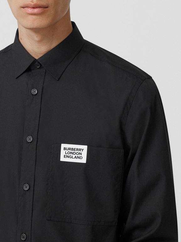 Logo Detail Stretch Cotton Poplin Shirt in Black - Men | Burberry Canada - cell image 1