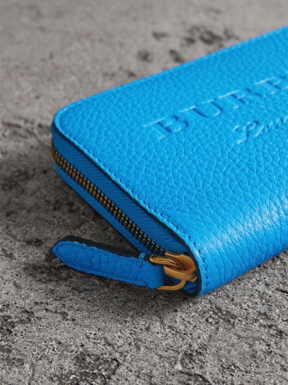 Embossed Leather Ziparound Wallet in Bright Blue - Women | Burberry - cell image 1