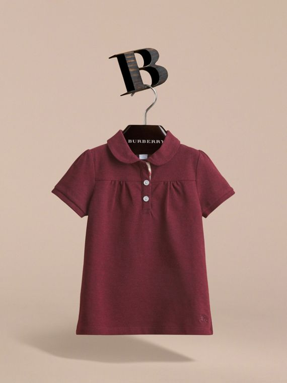 Peter Pan Collar Cotton Piqué Polo Shirt in Burgundy Melange - Girl | Burberry Hong Kong - cell image 2