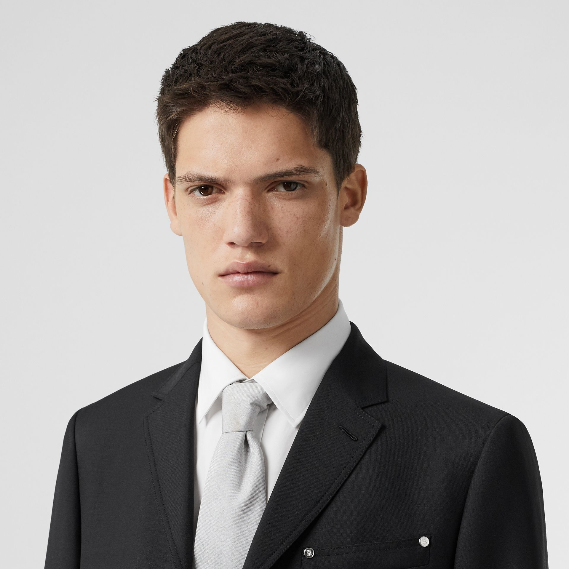Slim Fit Press-stud Wool Mohair Tailored Jacket in Black - Men | Burberry - gallery image 1