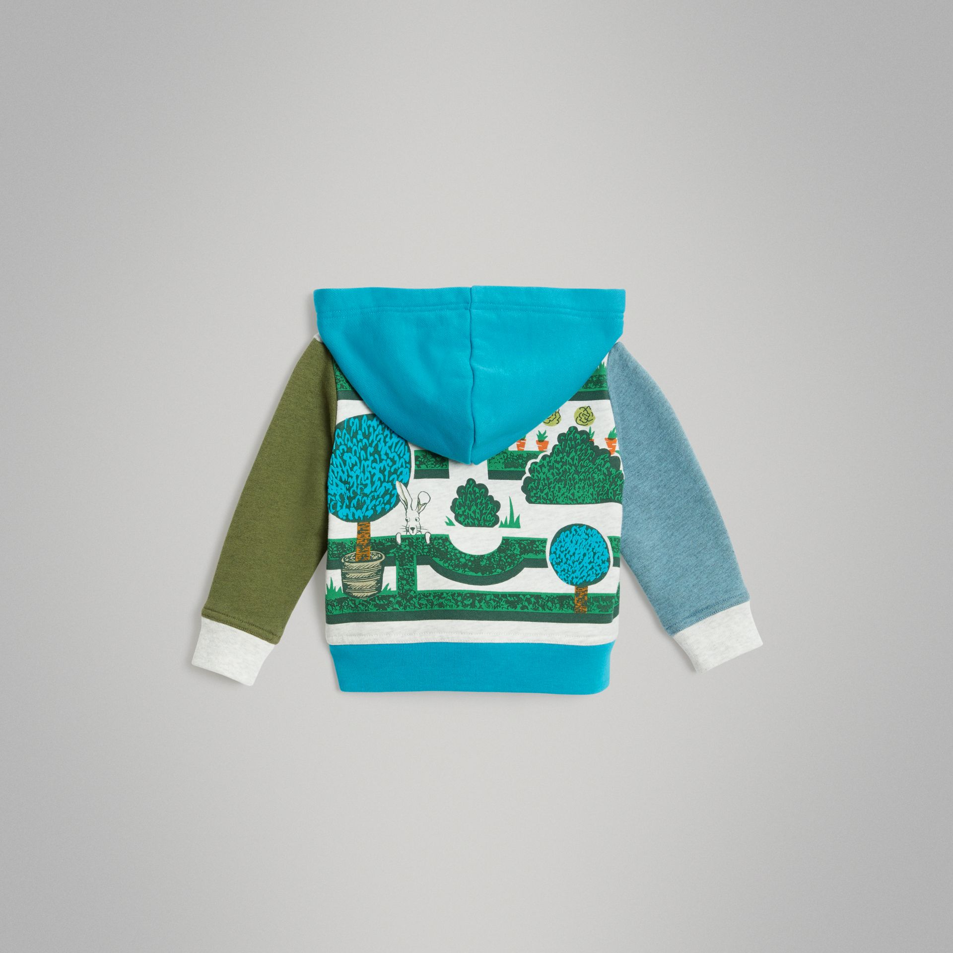 Hedge Maze Print Cotton Hooded Top in Multicolour - Children | Burberry - gallery image 3