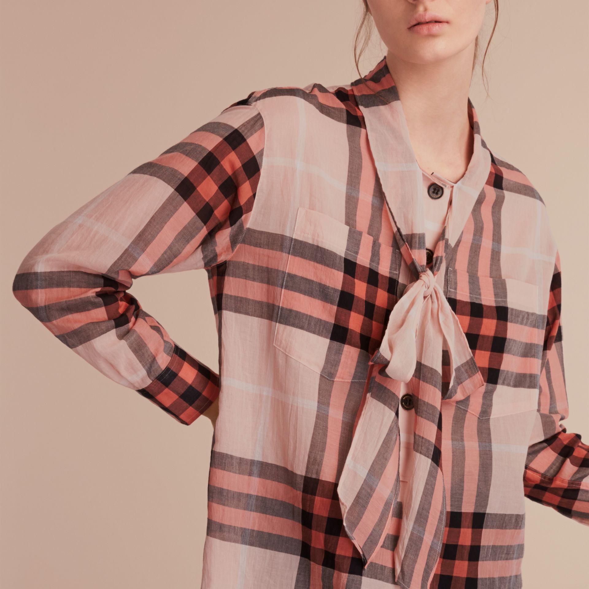 Check Tie Neck Cotton Shirt in Apricot - Women | Burberry Singapore - gallery image 5