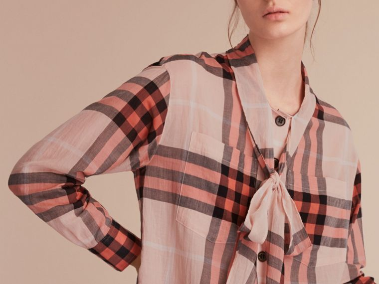 Check Tie Neck Cotton Shirt in Apricot - Women | Burberry Singapore - cell image 4