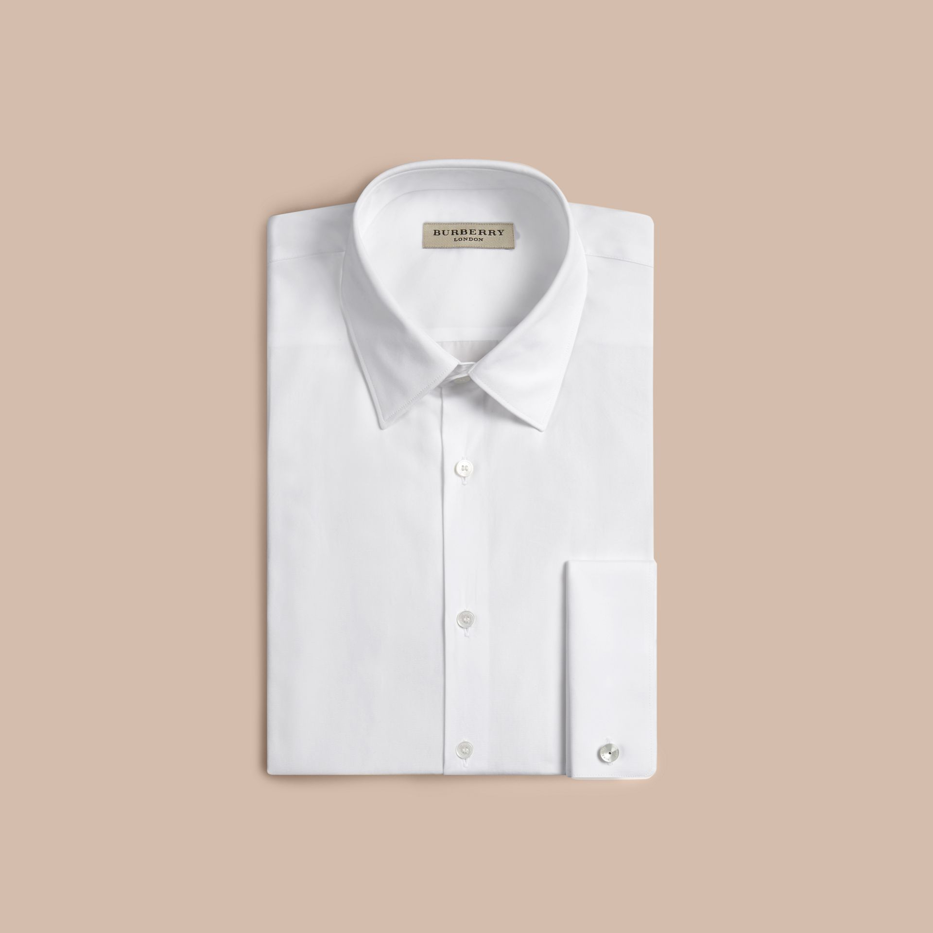 White Modern Fit Double-cuff Cotton Poplin Shirt - gallery image 4