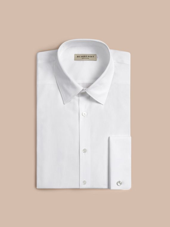 Modern Fit Double-cuff Cotton Poplin Shirt in White - Men | Burberry Canada - cell image 3