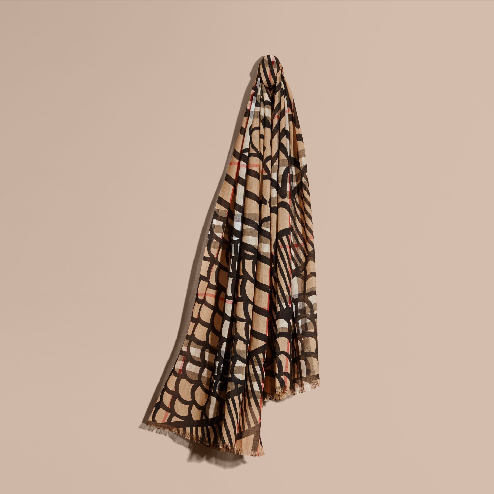 Check Wool Silk Scarf with Trompe L'oeil Print in Camel/black - Women | Burberry Hong Kong - gallery image 1