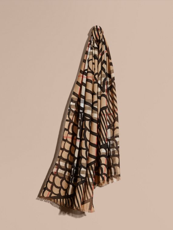 Check Wool Silk Scarf with Trompe L'oeil Print in Camel/black