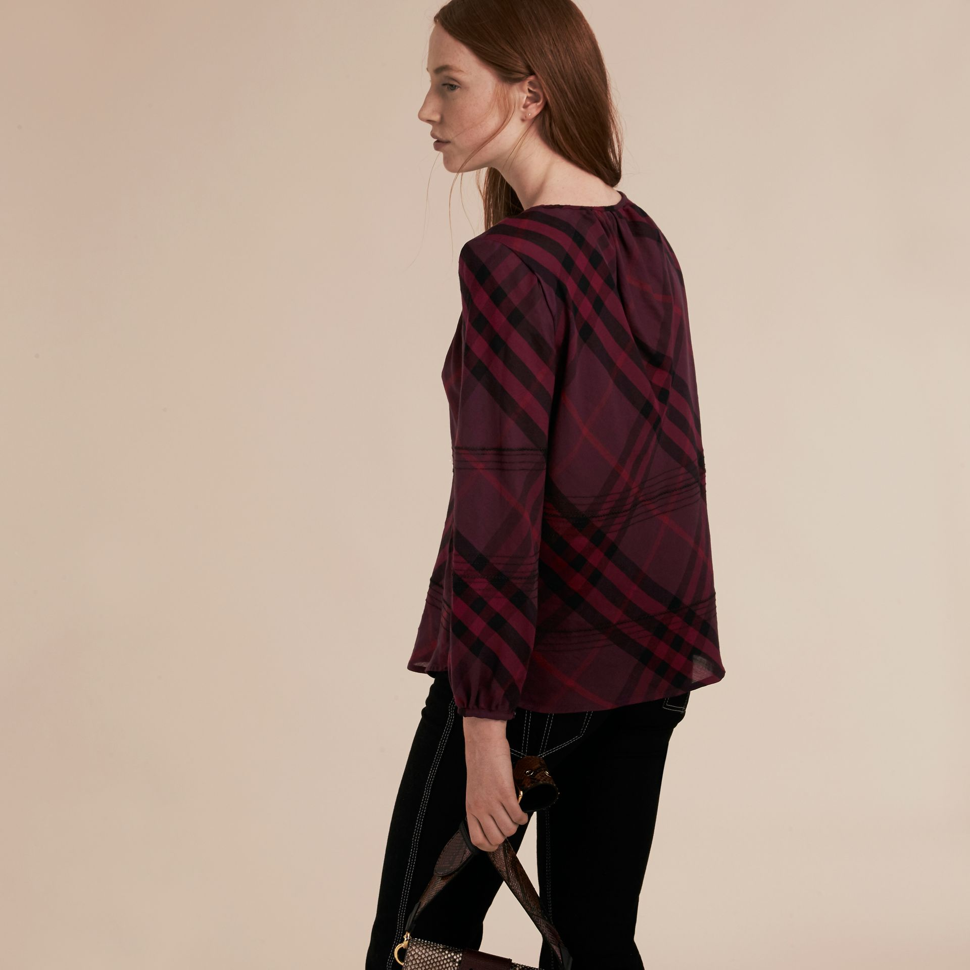 Blackcurrant Topstitched Check Cotton Tunic Top Blackcurrant - gallery image 3