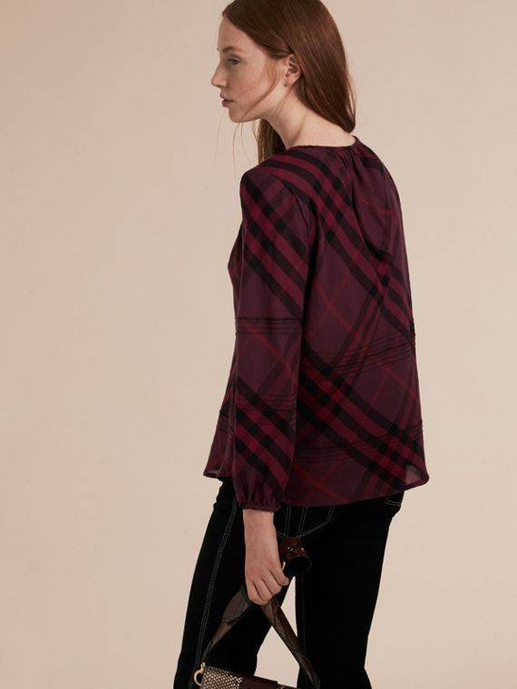 Blackcurrant Topstitched Check Cotton Tunic Top Blackcurrant - cell image 2