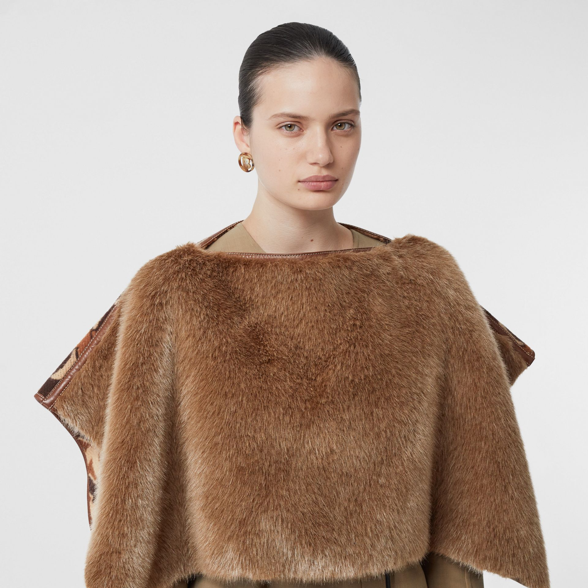 Faux Fur Detail Monogram Merino Wool Blend Cape in Dark Chestnut Brown - Women | Burberry United States - gallery image 1