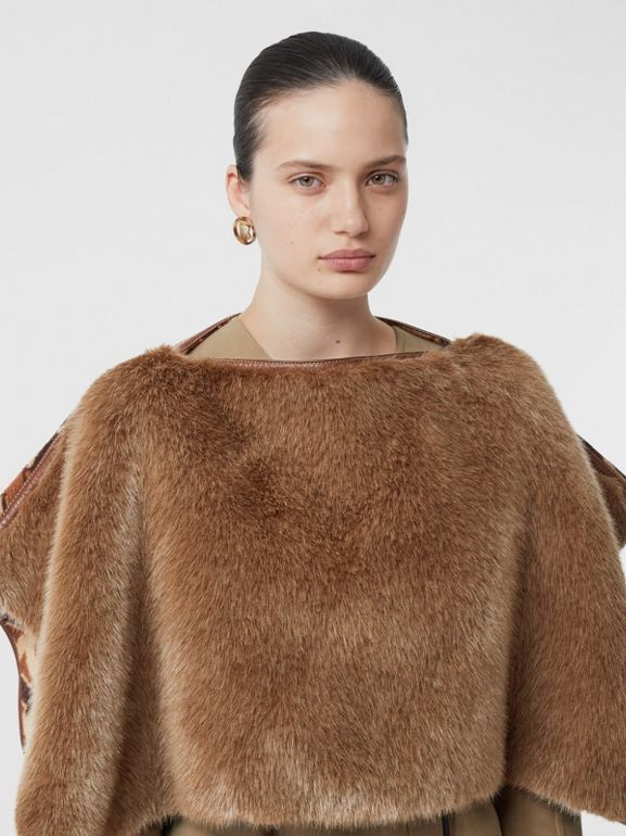 Faux Fur Detail Monogram Merino Wool Blend Cape in Dark Chestnut Brown - Women | Burberry United States - cell image 1