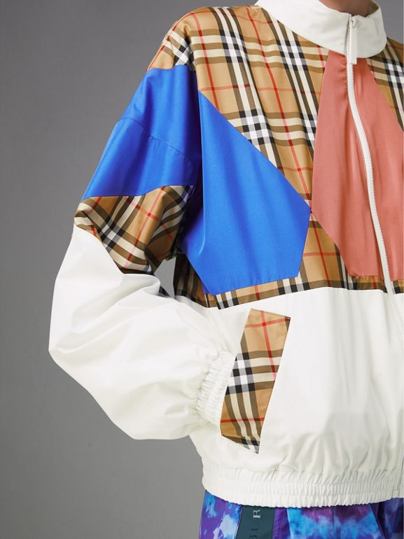 Vintage Check Panel Silk Shell Suit Jacket in White - Women | Burberry - cell image 1