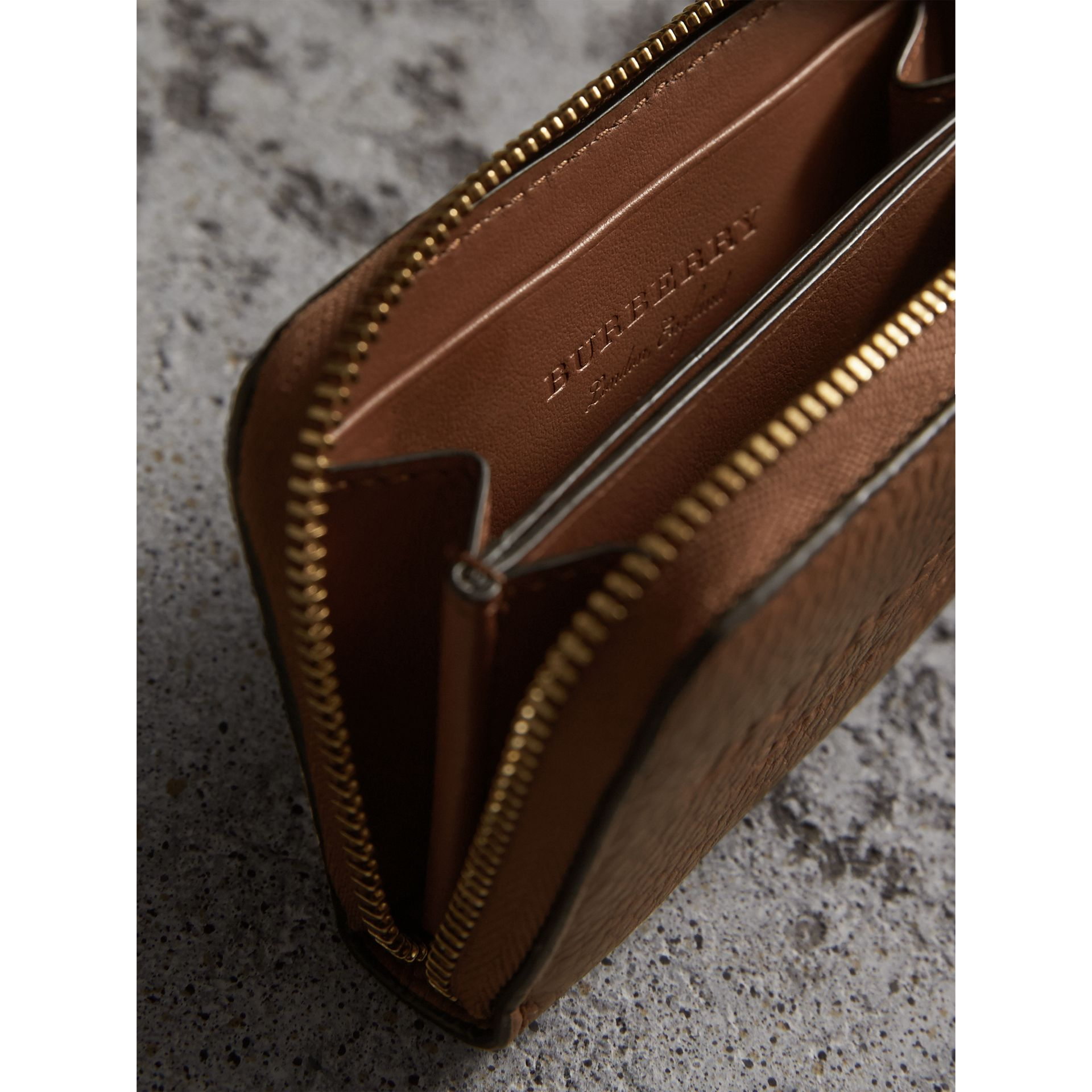 Textured Leather Ziparound Coin Case in Chestnut Brown - Men | Burberry - gallery image 3