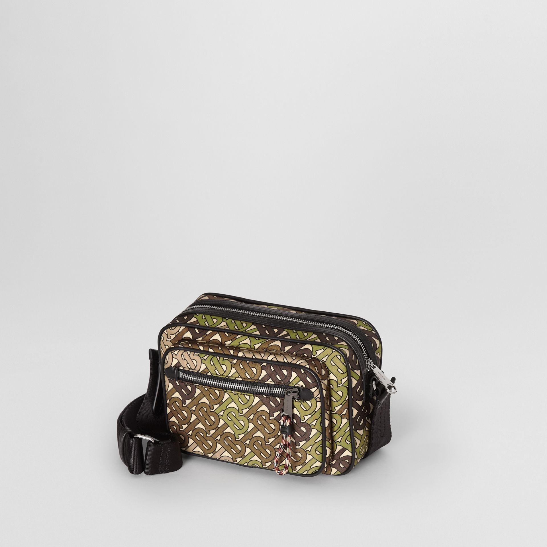 Monogram Print and Leather Crossbody Bag in Khaki Green - Men | Burberry - gallery image 3